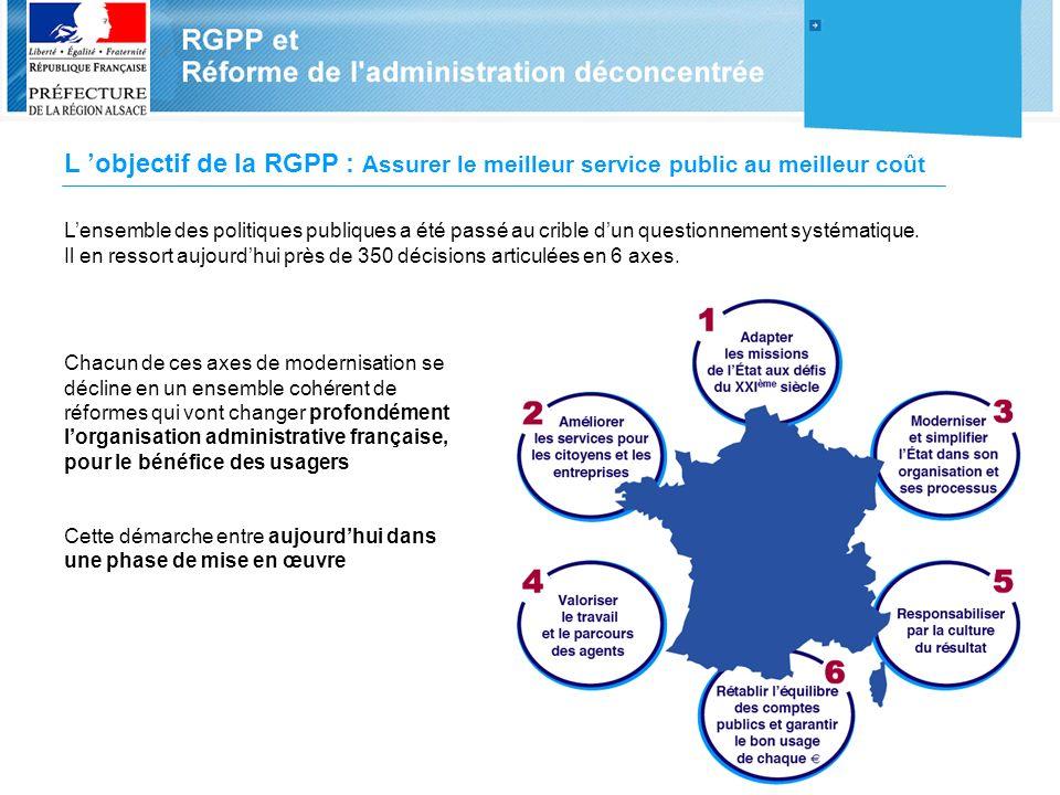 L objectif de la RGPP : Assurer le meilleur service public au meilleur coût Lensemble des politiques publiques a été passé au crible dun questionnemen