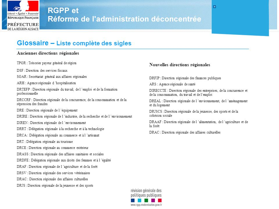 Glossaire – Liste complète des sigles Anciennes directions régionales TPGR : Trésorier payeur général de région DSF : Direction des services fiscaux S