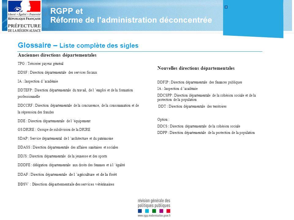 Glossaire – Liste complète des sigles Anciennes directions départementales TPG : Trésorier payeur général DDSF : Direction départementale des services