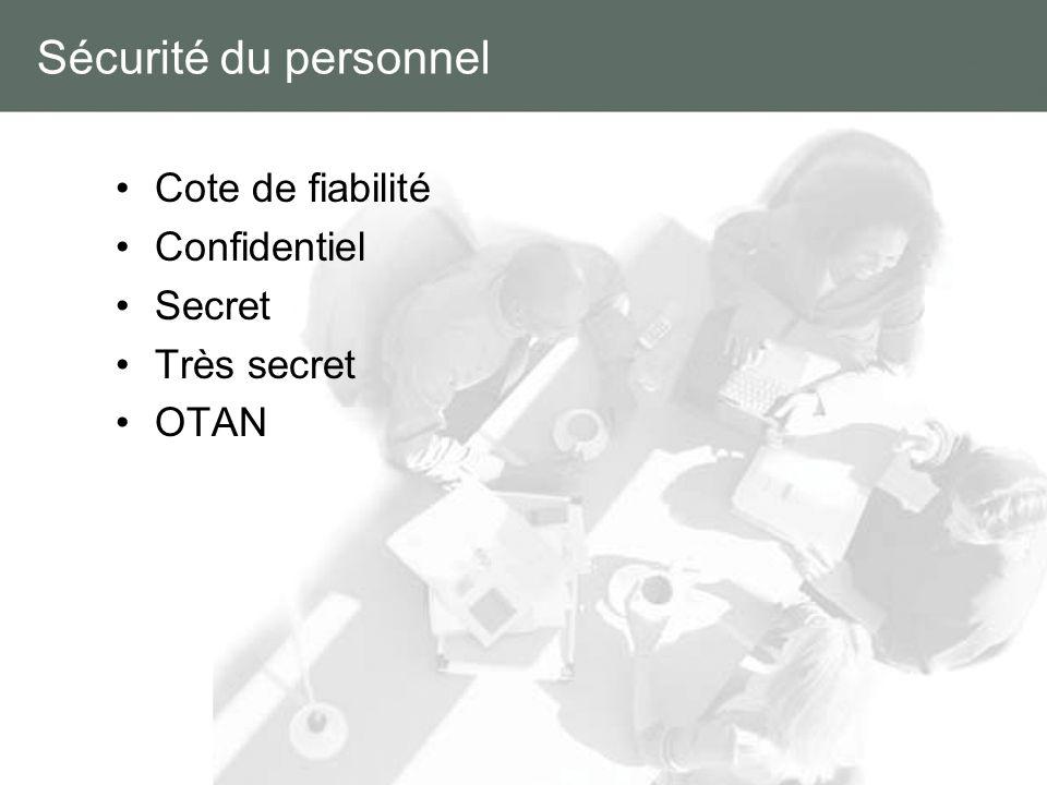 Sécurité du personnel Cote de fiabilité Confidentiel Secret Très secret OTAN
