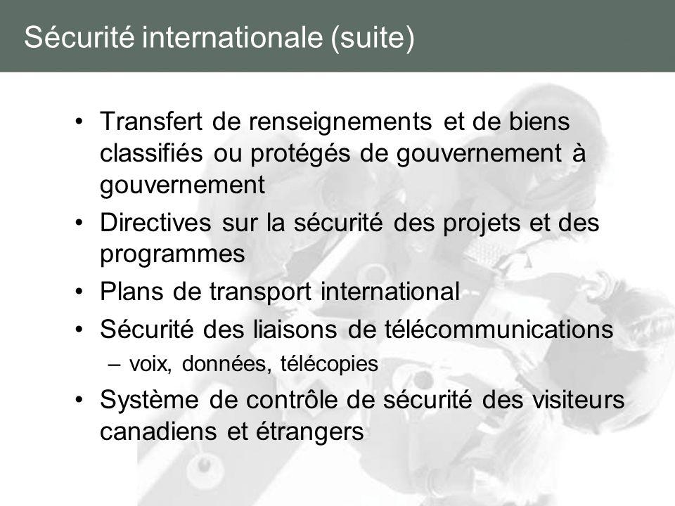 Sécurité internationale (suite) Transfert de renseignements et de biens classifiés ou protégés de gouvernement à gouvernement Directives sur la sécuri