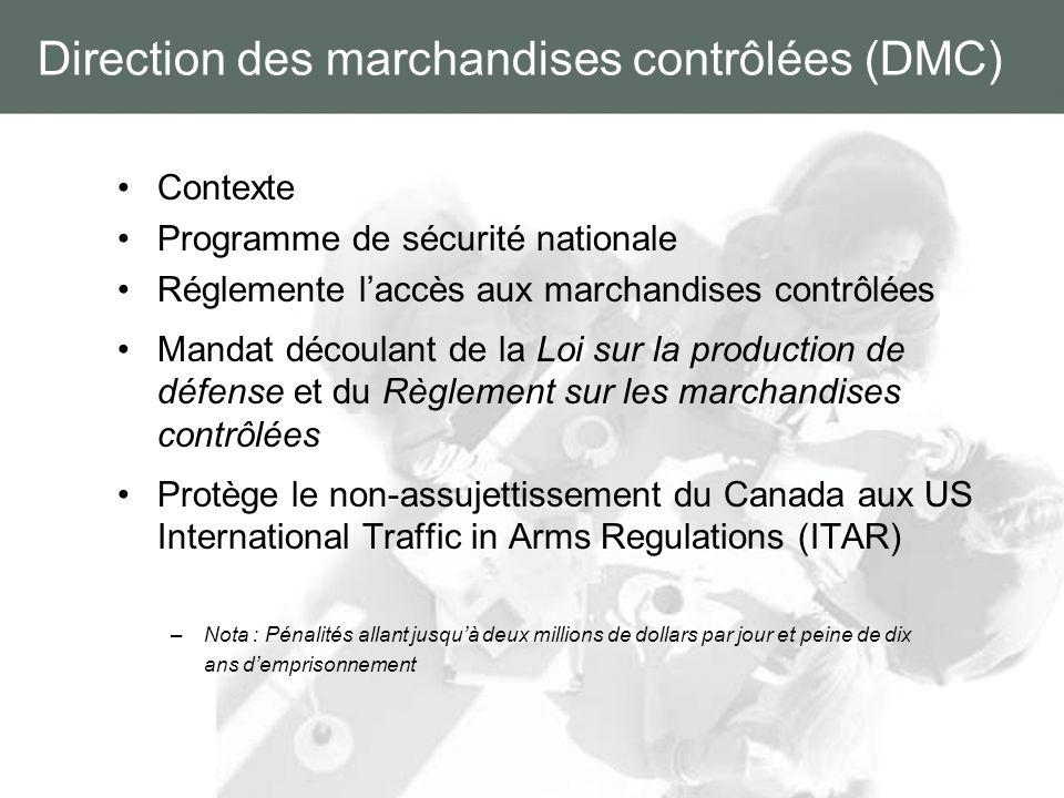 Direction des marchandises contrôlées (DMC) Contexte Programme de sécurité nationale Réglemente laccès aux marchandises contrôlées Mandat découlant de