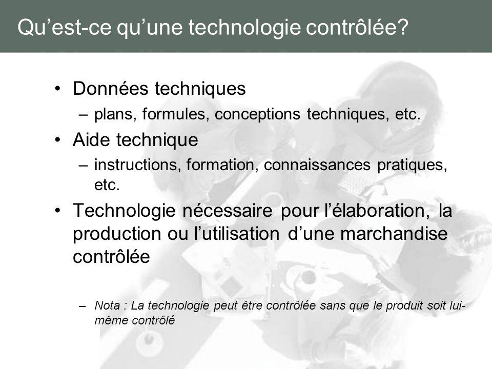 Quest-ce quune technologie contrôlée? Données techniques –plans, formules, conceptions techniques, etc. Aide technique –instructions, formation, conna