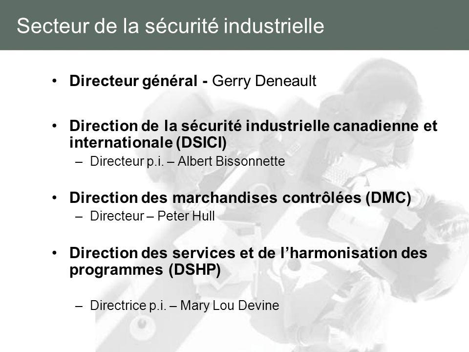 Secteur de la sécurité industrielle Directeur général - Gerry Deneault Direction de la sécurité industrielle canadienne et internationale (DSICI) –Dir