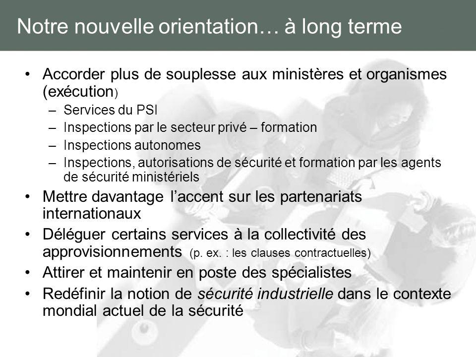 Notre nouvelle orientation… à long terme Accorder plus de souplesse aux ministères et organismes (exécution ) –Services du PSI –Inspections par le sec