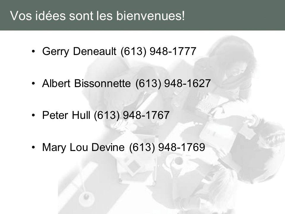 Vos idées sont les bienvenues! Gerry Deneault (613) 948-1777 Albert Bissonnette (613) 948-1627 Peter Hull (613) 948-1767 Mary Lou Devine (613) 948-176