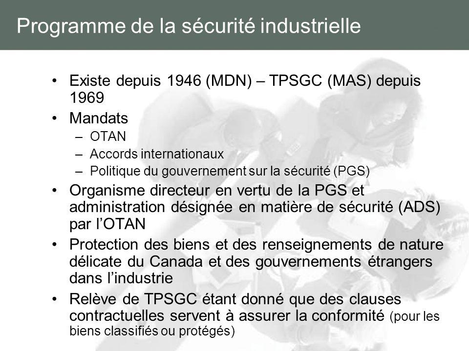 Programme de la sécurité industrielle Existe depuis 1946 (MDN) – TPSGC (MAS) depuis 1969 Mandats –OTAN –Accords internationaux –Politique du gouvernem