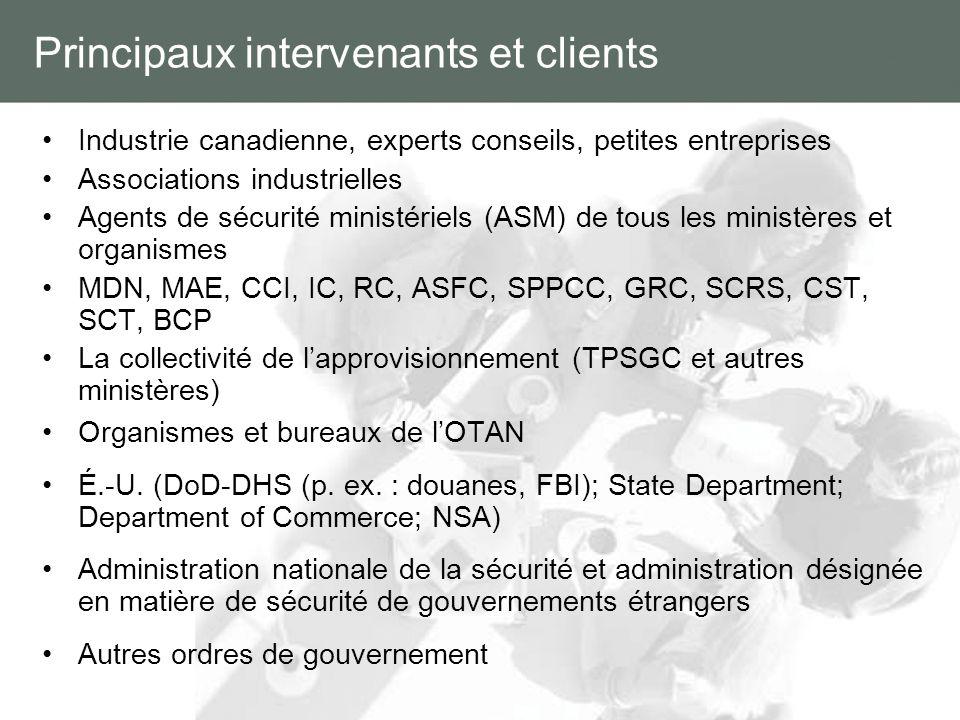 Principaux intervenants et clients Industrie canadienne, experts conseils, petites entreprises Associations industrielles Agents de sécurité ministéri