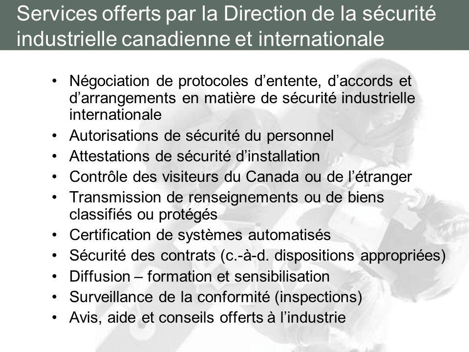 Opérations de sécurité industrielle Parrainage Attestation de sécurité dinstallation (ASI) Vérification dorganisation désignée (VOD) Sécurité des contrats