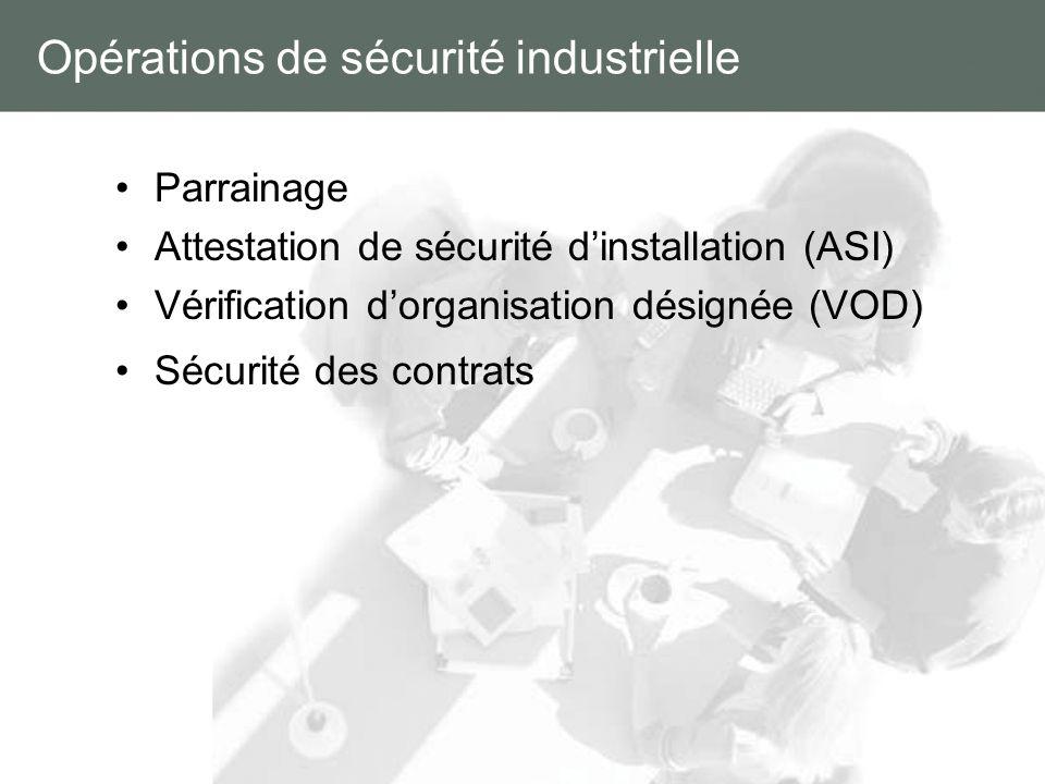Opérations de sécurité industrielle Parrainage Attestation de sécurité dinstallation (ASI) Vérification dorganisation désignée (VOD) Sécurité des cont
