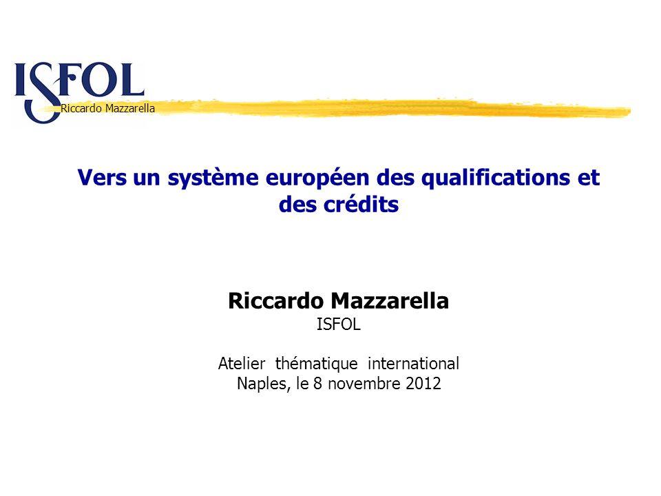 Riccardo Mazzarella Vers un système européen des qualifications et des crédits Riccardo Mazzarella ISFOL Atelier thématique international Naples, le 8
