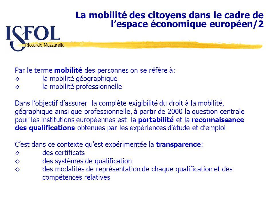 Riccardo Mazzarella Par le terme mobilité des personnes on se réfère à:la mobilité géographique la mobilité professionnelle Dans lobjectif dassurer la
