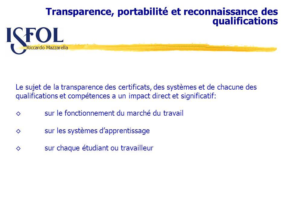 Riccardo Mazzarella Le sujet de la transparence des certificats, des systèmes et de chacune des qualifications et compétences a un impact direct et si