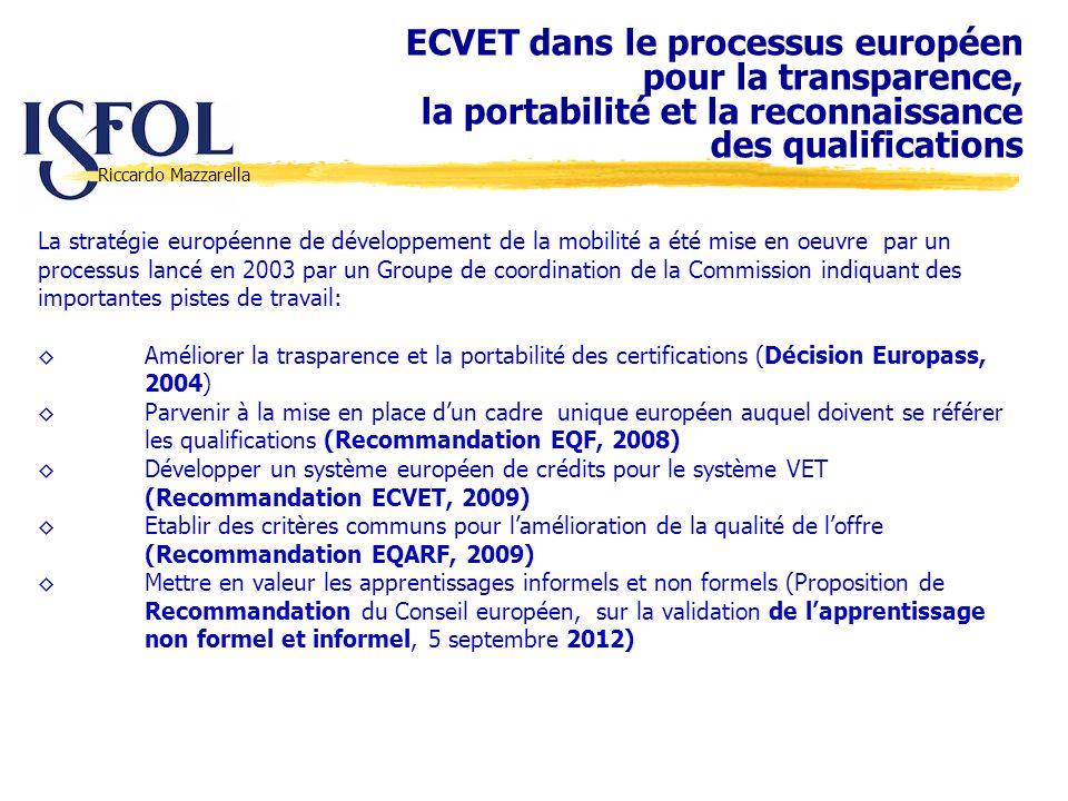 Riccardo Mazzarella La stratégie européenne de développement de la mobilité a été mise en oeuvre par un processus lancé en 2003 par un Groupe de coord