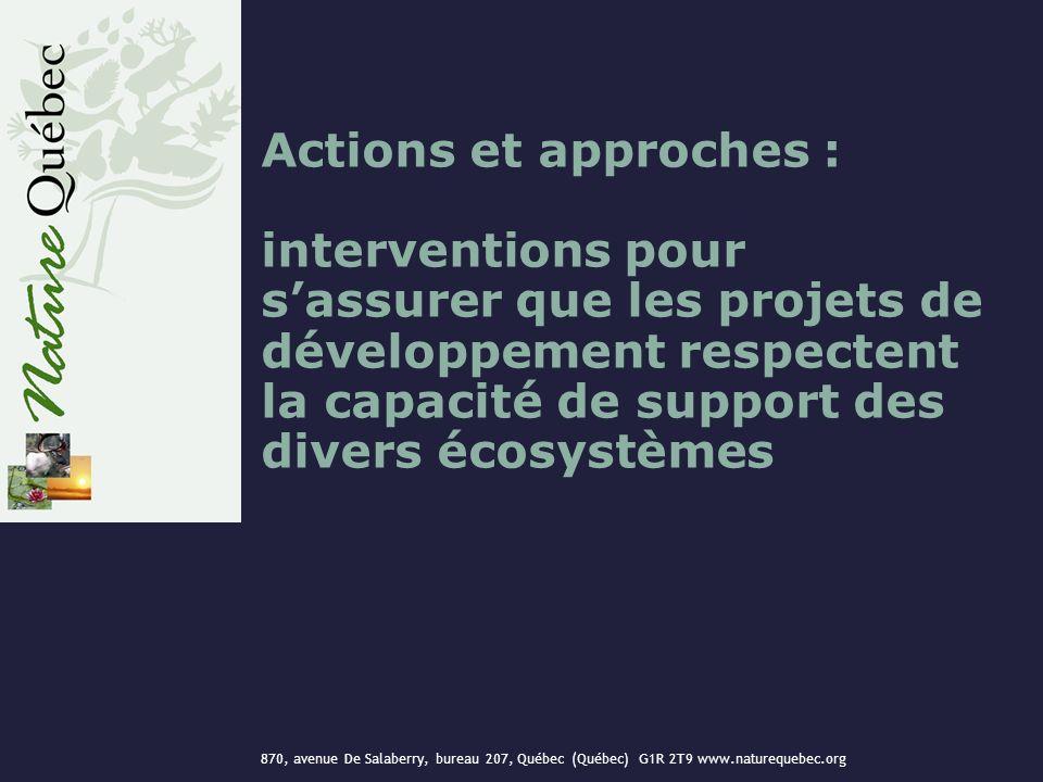 870, avenue De Salaberry, bureau 207, Québec (Québec) G1R 2T9 www.naturequebec.org Actions et approches : interventions pour sassurer que les projets de développement respectent la capacité de support des divers écosystèmes