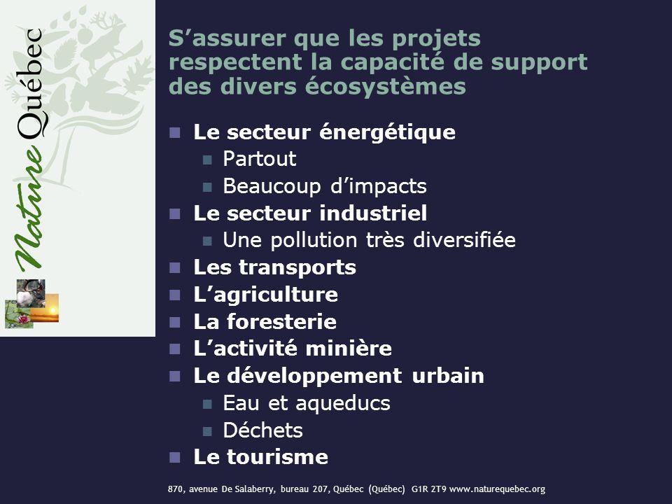 870, avenue De Salaberry, bureau 207, Québec (Québec) G1R 2T9 www.naturequebec.org Sassurer que les projets respectent la capacité de support des dive