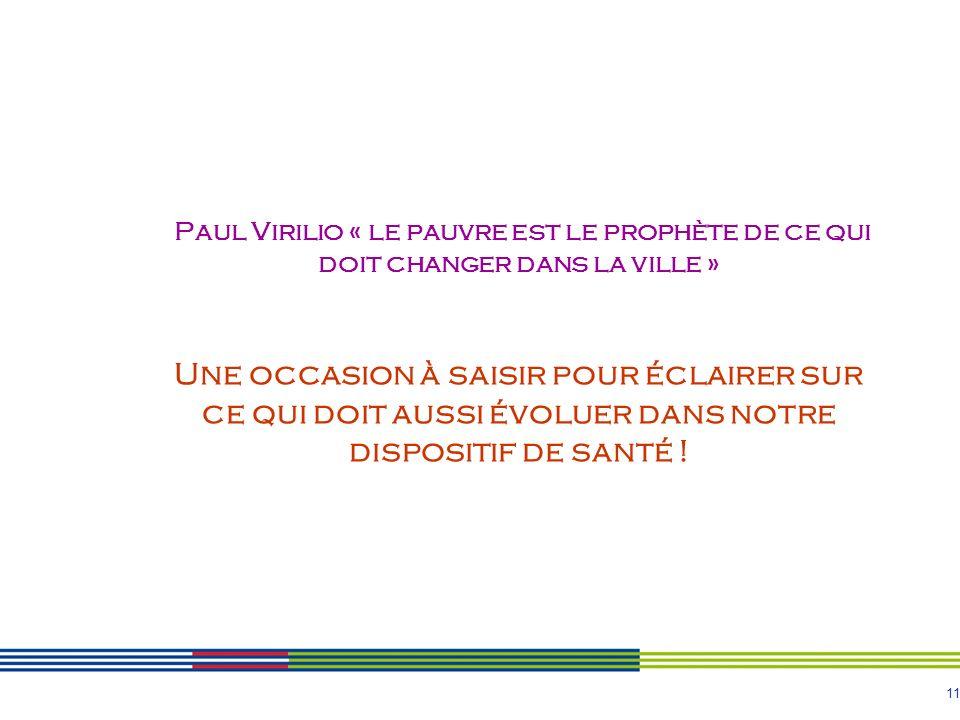 11 Paul Virilio « le pauvre est le prophète de ce qui doit changer dans la ville » Une occasion à saisir pour éclairer sur ce qui doit aussi évoluer d