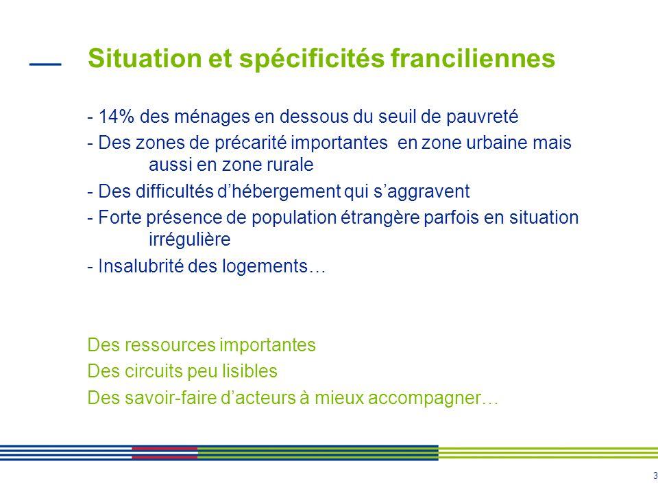 3 Situation et spécificités franciliennes - 14% des ménages en dessous du seuil de pauvreté - Des zones de précarité importantes en zone urbaine mais