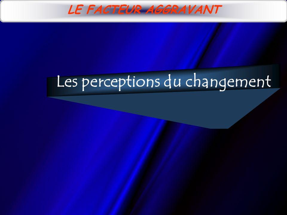 LE FACTEUR AGGRAVANT Les perceptions du changement