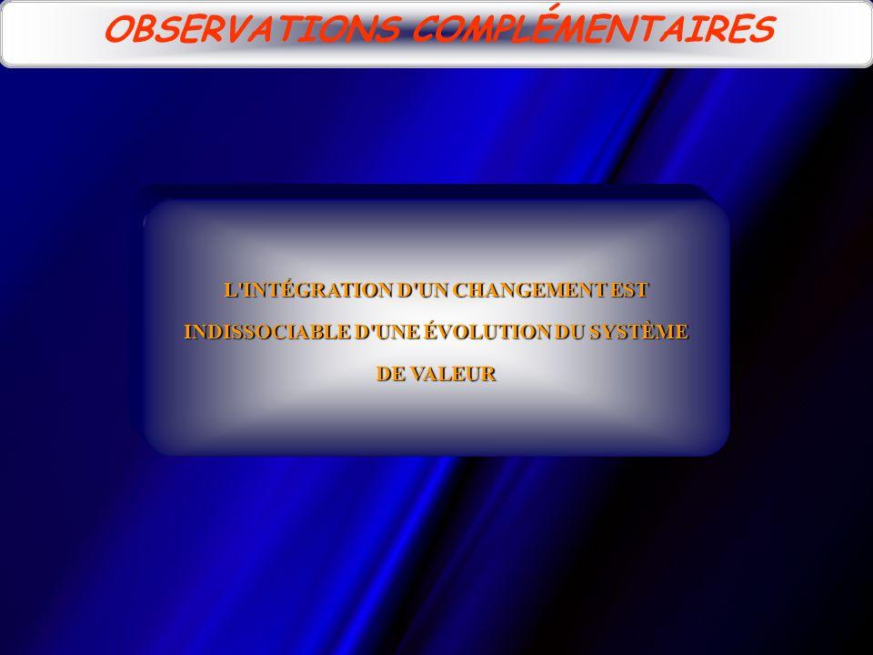 L'INTÉGRATION D'UN CHANGEMENT EST INDISSOCIABLE D'UNE ÉVOLUTION DU SYSTÈME DE VALEUR OBSERVATIONS COMPLÉMENTAIRES