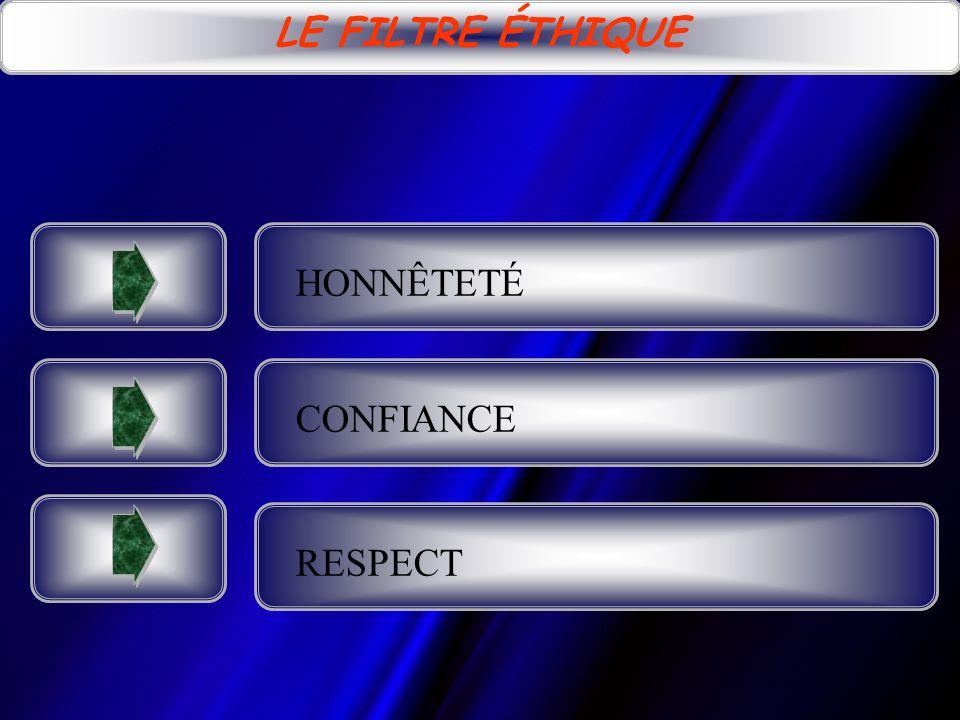 LE FILTRE ÉTHIQUE HONNÊTETÉ CONFIANCE RESPECT