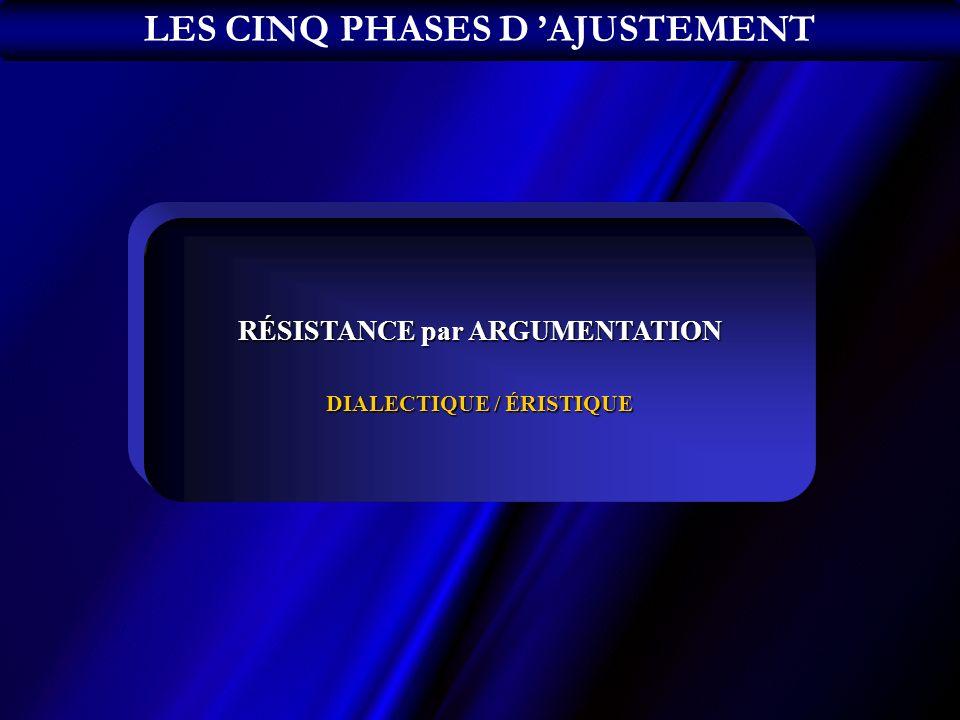 RÉSISTANCE par ARGUMENTATION DIALECTIQUE / ÉRISTIQUE LES CINQ PHASES D AJUSTEMENT