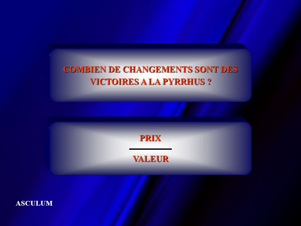COMBIEN DE CHANGEMENTS SONT DES VICTOIRES A LA PYRRHUS ? PRIXVALEUR ASCULUM