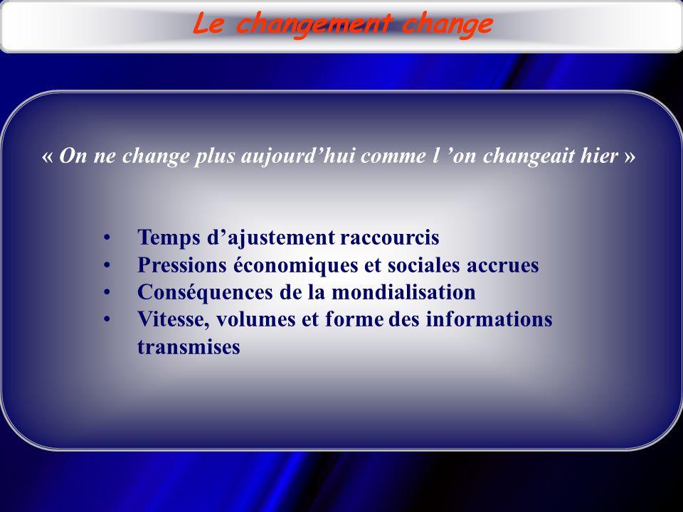 Le changement est indissociable de linsatisfaction « La satisfaction par rapport au présent est un frein substantiel au changement » Pourquoi changer si lon est bien.
