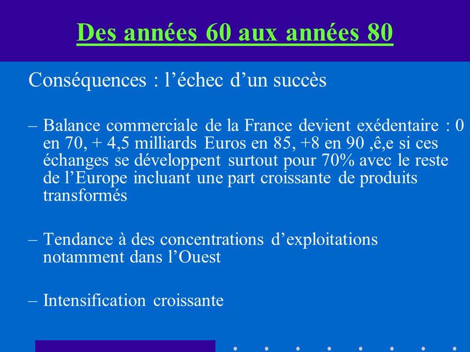 Des années 60 aux années 80 Conséquences : léchec dun succès –Balance commerciale de la France devient exédentaire : 0 en 70, + 4,5 milliards Euros en 85, +8 en 90,ê,e si ces échanges se développent surtout pour 70% avec le reste de lEurope incluant une part croissante de produits transformés –Tendance à des concentrations dexploitations notamment dans lOuest –Intensification croissante