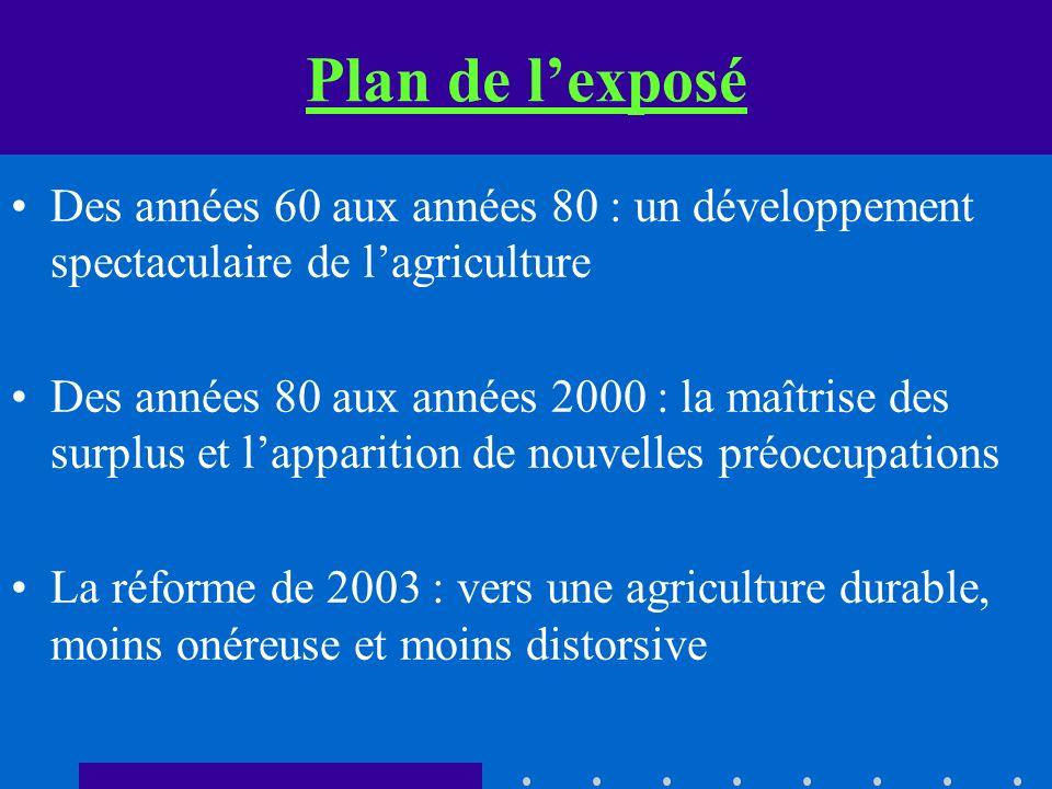 Plan de lexposé Des années 60 aux années 80 : un développement spectaculaire de lagriculture Des années 80 aux années 2000 : la maîtrise des surplus e