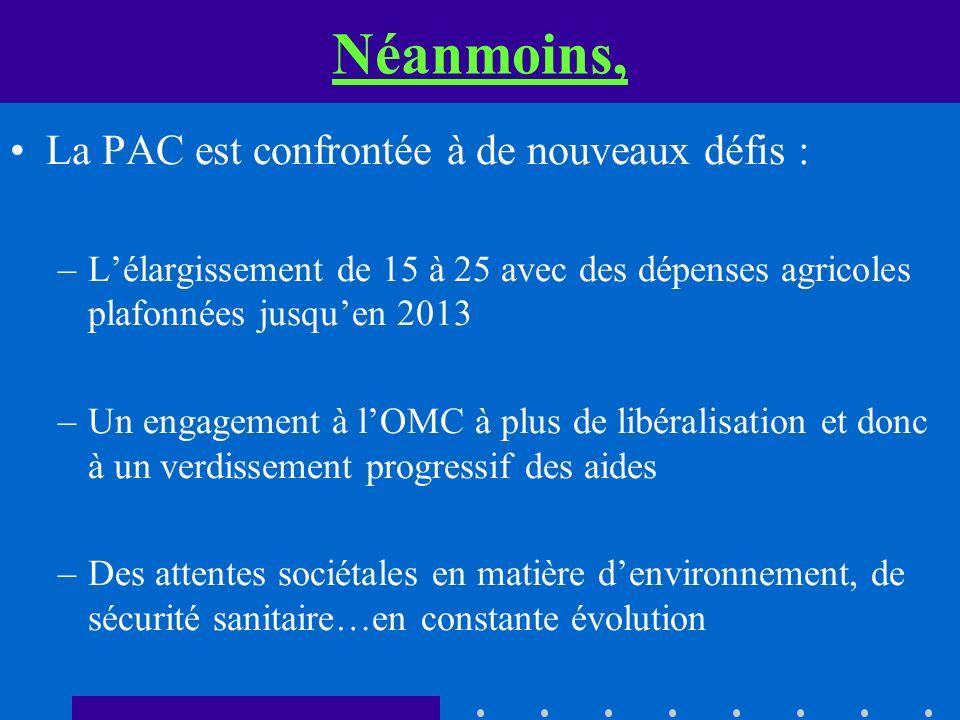 Néanmoins, La PAC est confrontée à de nouveaux défis : –Lélargissement de 15 à 25 avec des dépenses agricoles plafonnées jusquen 2013 –Un engagement à
