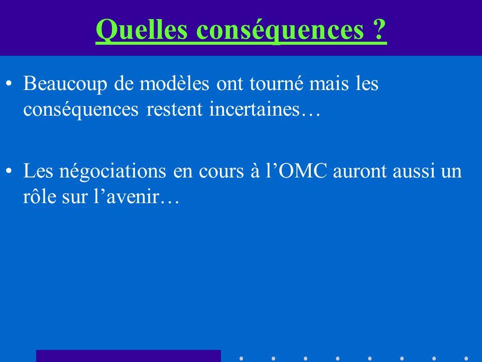 Quelles conséquences ? Beaucoup de modèles ont tourné mais les conséquences restent incertaines… Les négociations en cours à lOMC auront aussi un rôle
