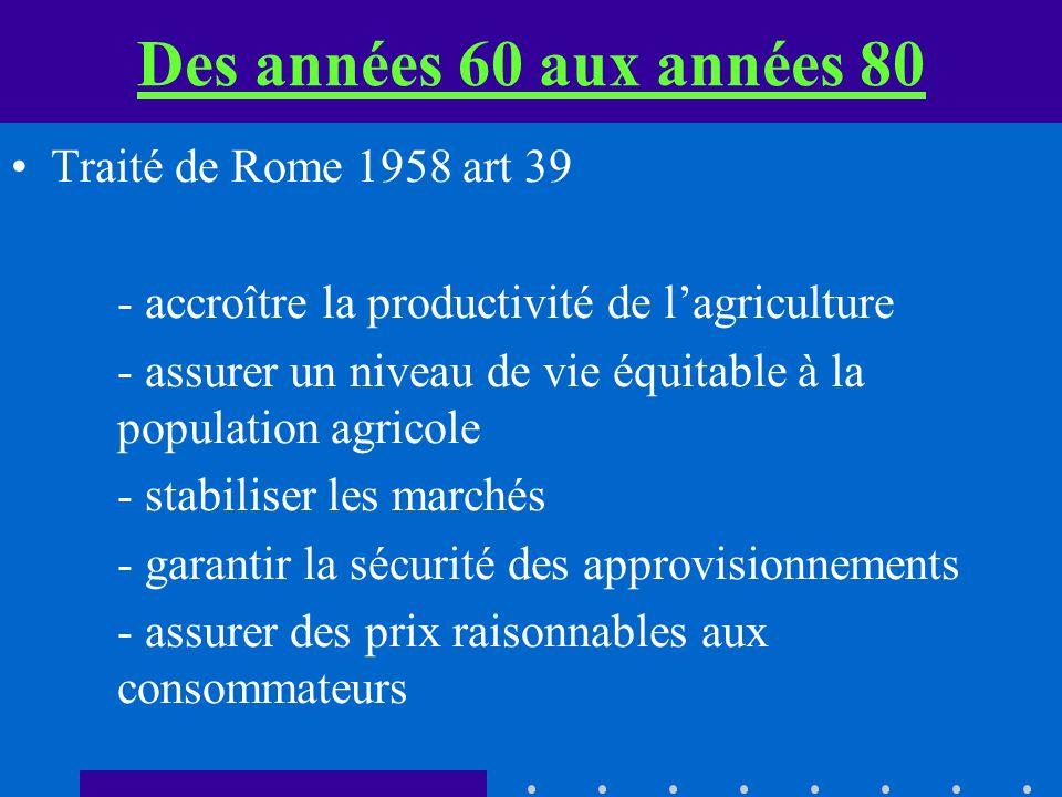 Des années 60 aux années 80 Traité de Rome 1958 art 39 - accroître la productivité de lagriculture - assurer un niveau de vie équitable à la population agricole - stabiliser les marchés - garantir la sécurité des approvisionnements - assurer des prix raisonnables aux consommateurs