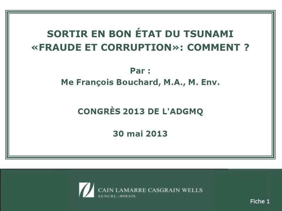 SORTIR EN BON ÉTAT DU TSUNAMI «FRAUDE ET CORRUPTION»: COMMENT .
