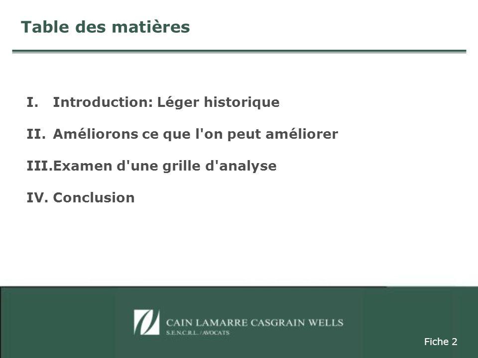 I.Introduction: Léger historique II.Améliorons ce que l on peut améliorer III.Examen d une grille d analyse IV.Conclusion Fiche 2 Table des matières