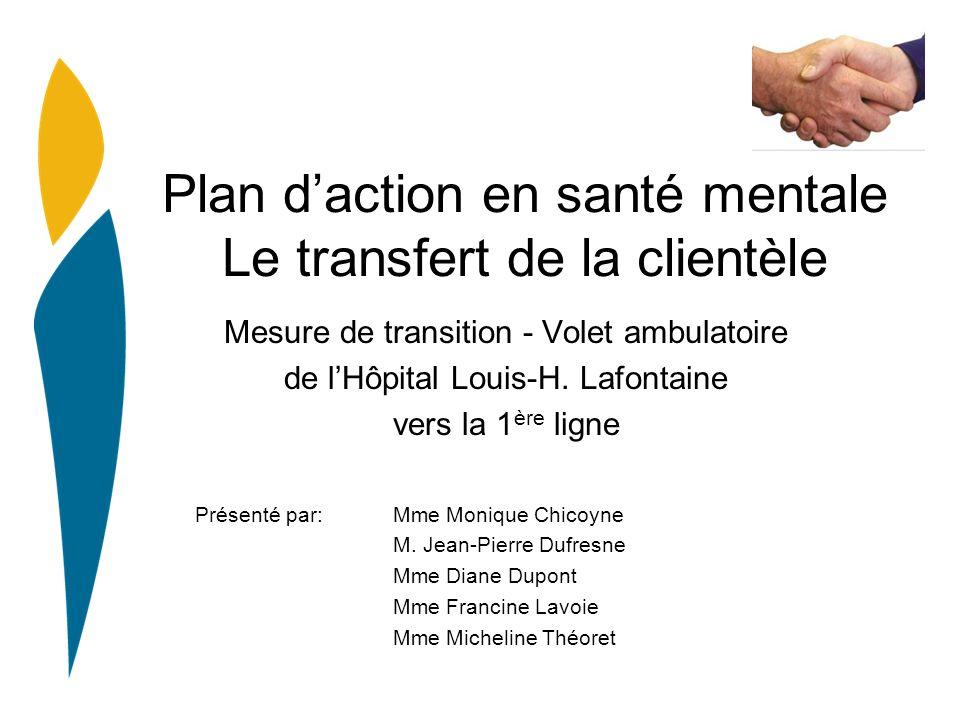Plan daction en santé mentale Le transfert de la clientèle Mesure de transition - Volet ambulatoire de lHôpital Louis-H. Lafontaine vers la 1 ère lign