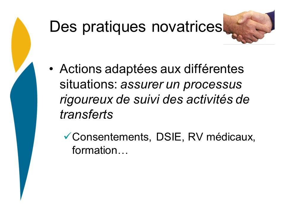 Des pratiques novatrices Actions adaptées aux différentes situations: assurer un processus rigoureux de suivi des activités de transferts Consentements, DSIE, RV médicaux, formation…