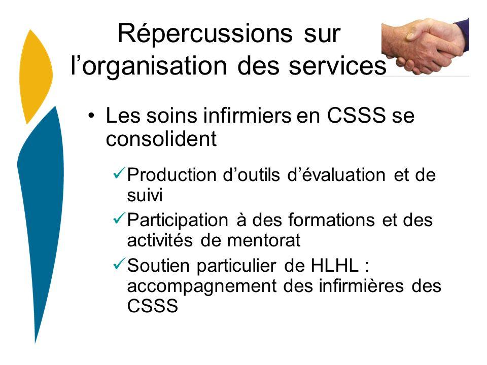 Répercussions sur lorganisation des services Les soins infirmiers en CSSS se consolident Production doutils dévaluation et de suivi Participation à de