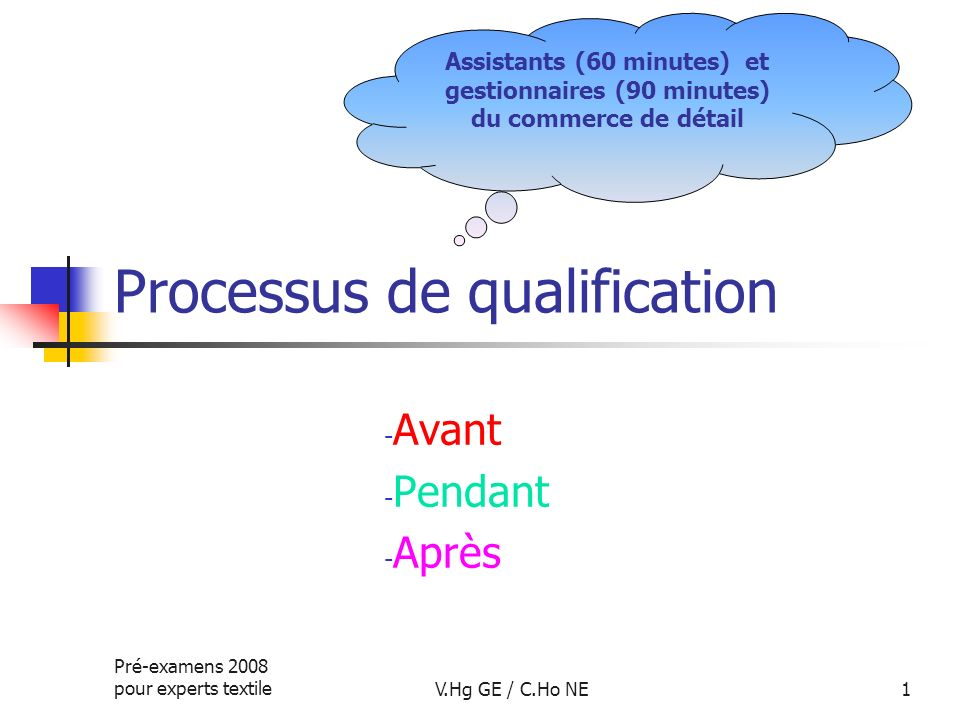 Pré-examens 2008 pour experts textileV.Hg GE / C.Ho NE1 Processus de qualification - Avant - Pendant - Après Assistants (60 minutes) et gestionnaires