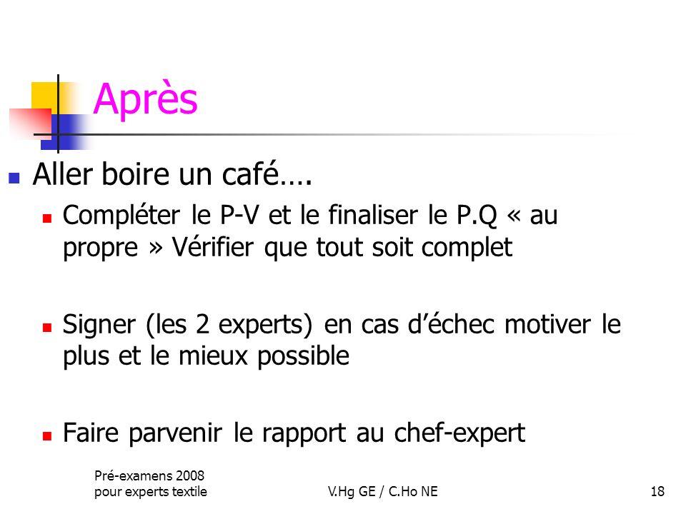 Pré-examens 2008 pour experts textileV.Hg GE / C.Ho NE18 Après Aller boire un café…. Compléter le P-V et le finaliser le P.Q « au propre » Vérifier qu