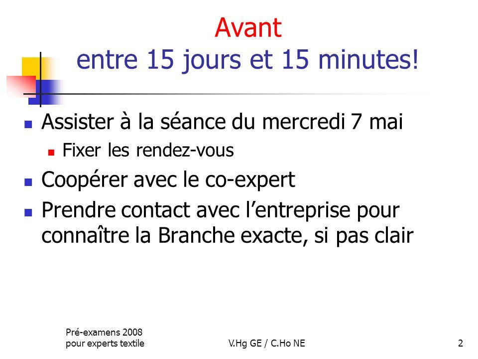 Pré-examens 2008 pour experts textileV.Hg GE / C.Ho NE2 Avant entre 15 jours et 15 minutes! Assister à la séance du mercredi 7 mai Fixer les rendez-vo