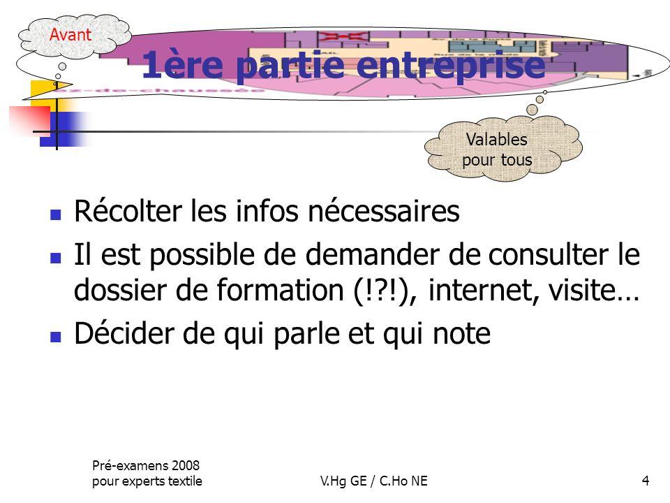 Pré-examens 2008 pour experts textileV.Hg GE / C.Ho NE4 1ère partie entreprise Récolter les infos nécessaires Il est possible de demander de consulter