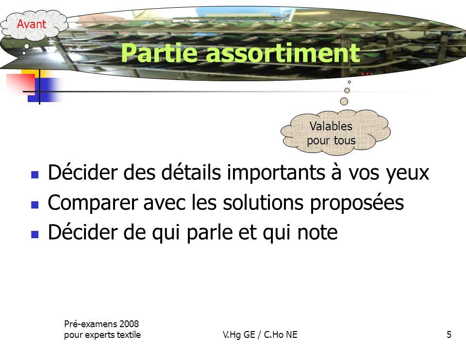 Pré-examens 2008 pour experts textileV.Hg GE / C.Ho NE5 Décider des détails importants à vos yeux Comparer avec les solutions proposées Décider de qui