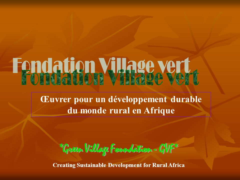 Creating Sustainable Development for Rural Africa Œuvrer pour un développement durable du monde rural en Afrique