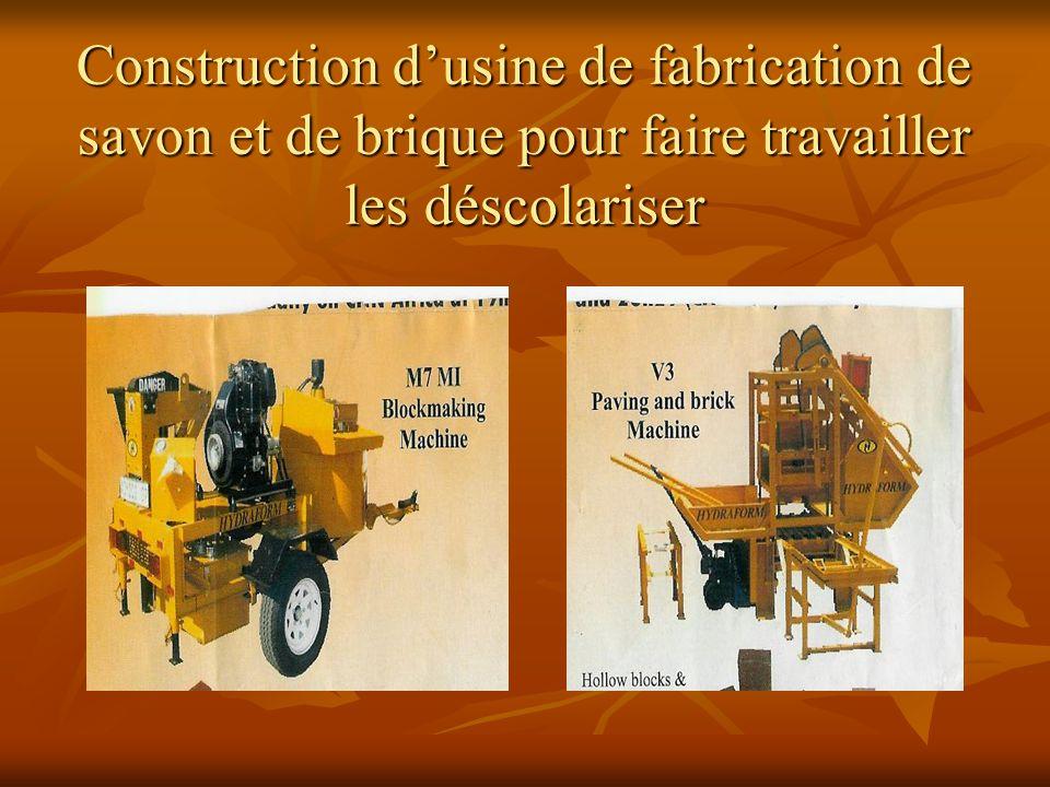Construction dusine de fabrication de savon et de brique pour faire travailler les déscolariser