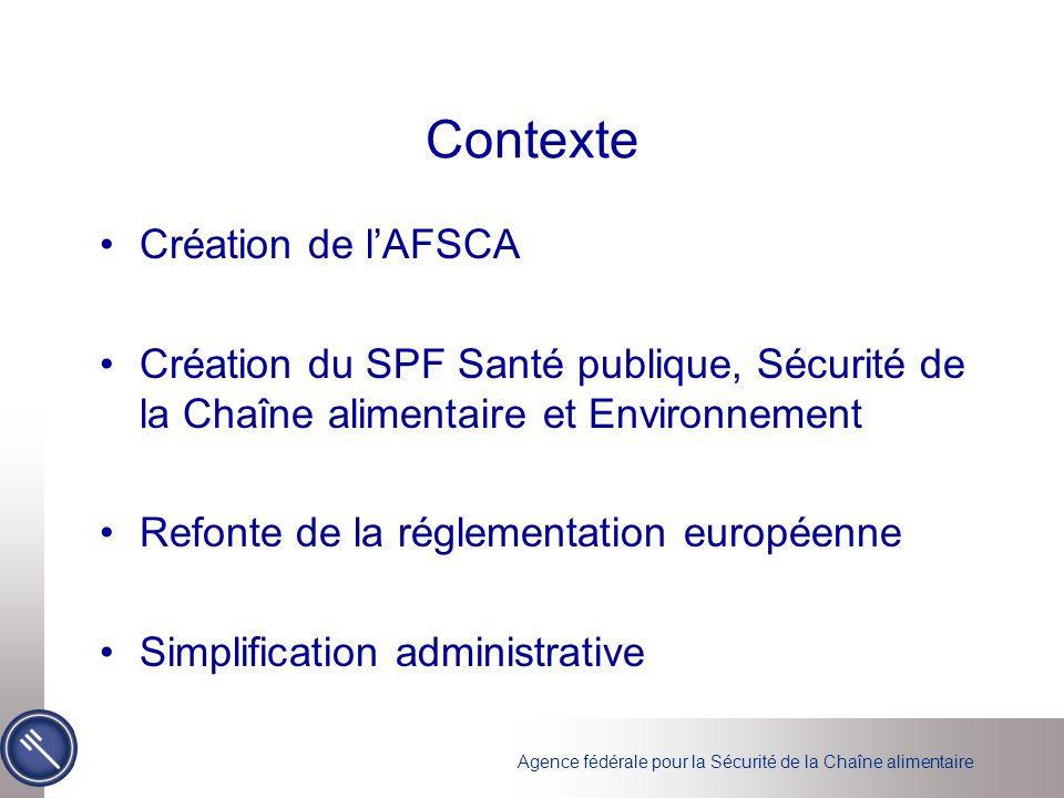 Contexte Création de lAFSCA Création du SPF Santé publique, Sécurité de la Chaîne alimentaire et Environnement Refonte de la réglementation européenne Simplification administrative