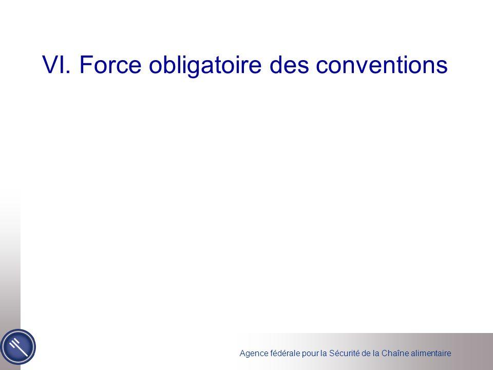 Agence fédérale pour la Sécurité de la Chaîne alimentaire VI. Force obligatoire des conventions