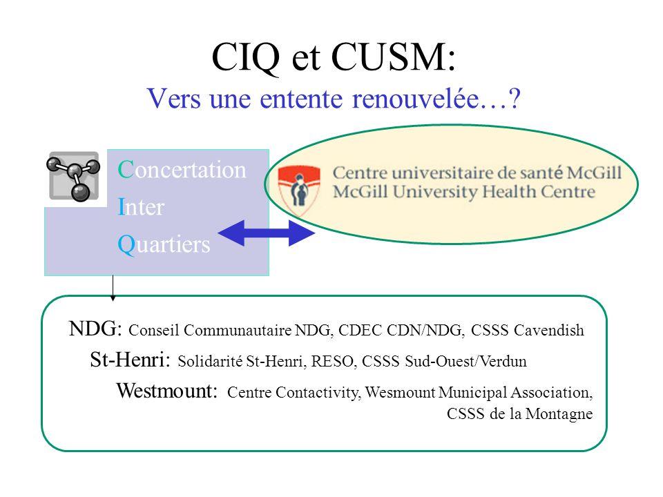 CIQ et CUSM: Vers une entente renouvelée…? Concertation Inter Quartiers NDG: Conseil Communautaire NDG, CDEC CDN/NDG, CSSS Cavendish St-Henri: Solidar