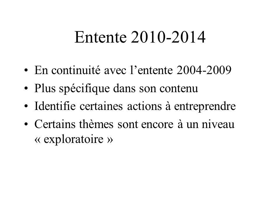 Entente 2010-2014 En continuité avec lentente 2004-2009 Plus spécifique dans son contenu Identifie certaines actions à entreprendre Certains thèmes so