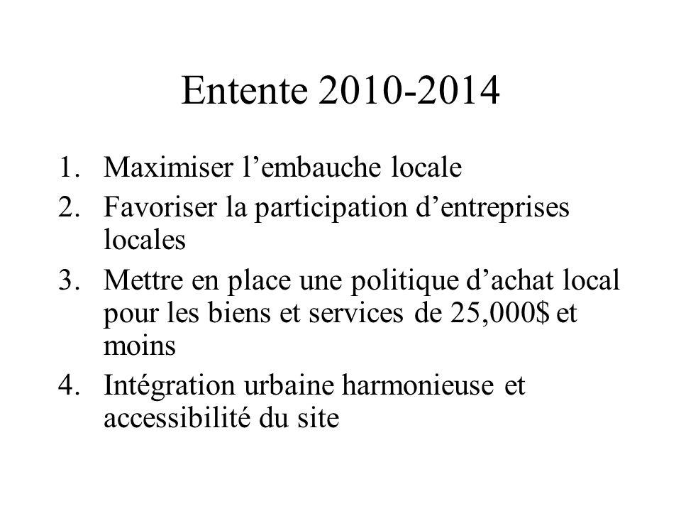 Entente 2010-2014 1.Maximiser lembauche locale 2.Favoriser la participation dentreprises locales 3.Mettre en place une politique dachat local pour les
